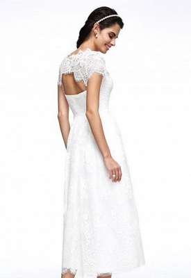 Robes de mariée A-ligne Jewel Neck Tea Longueur Dentelle Manches courtes Simple Illusion Casual Backless_4