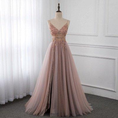 Vestidos de baile de cristal namorado com alças de tule espaguete vestido de noite dividido lado_7