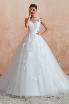 Cain   Illusion Neck White Wedding Dress with exqusite Lace Appliques, Sleeveless V-back Bridal Gowns Online_2