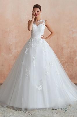قابيل | الوهم العنق فستان الزفاف الأبيض مع يزين الدانتيل exqusite ، بلا أكمام الخامس عودة أثواب الزفاف رخيصة على الانترنت_2