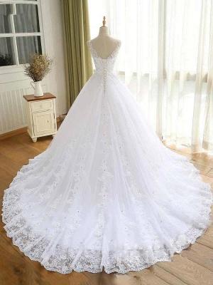 Vestidos de novia con cuentas de encaje de lujo 2021 Correas con cuello en V Vestido largo de baile Vestido de novia para fiesta de boda_2