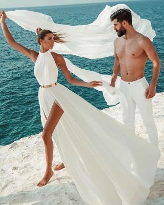 Halter White Chiffon Beach Wedding Dress Long Simple Bridal Dress with Split_5