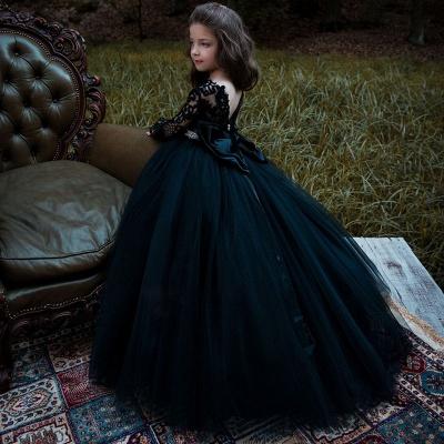 Schönes schwarzes Blumenmädchenkleid mit langen Ärmeln und Kristallgürtel_3