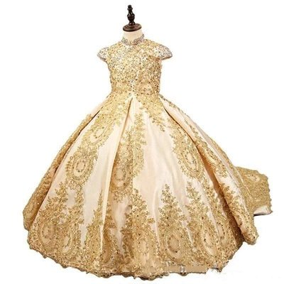 Gold Ball Gown Princess Flower Girl Dresses With Beads Little Girls Pageant Dresses