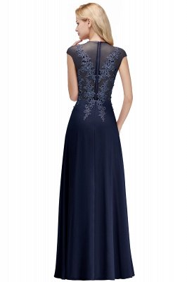 Cap Sleeve Lace Appliques Beads Slim A-line Evening Prom Dress for Women_3