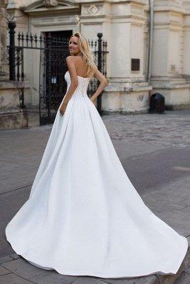 Simple Strapless White A-line Zipper up A-line Princess Wedding Dress_2