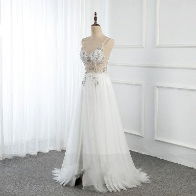 Sweetheart Crystal Prom Dresses Straps Spaghetti Tulle Evening Gown Split Side_2