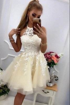 Halter Tulle Lace Short Cocktail Dress Sleeveless Homecoming Dress for Girls_2