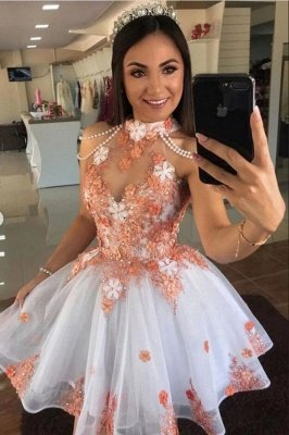 Cute Tulle Lace Short Prom Dress Halter Floral Cocktail Dress_1