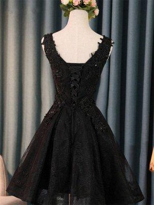 Elegant Black Homecoming Graduacion Dresses  Lace Applique Beaded Tulle Short Prom Dress Homecoming Dress_3