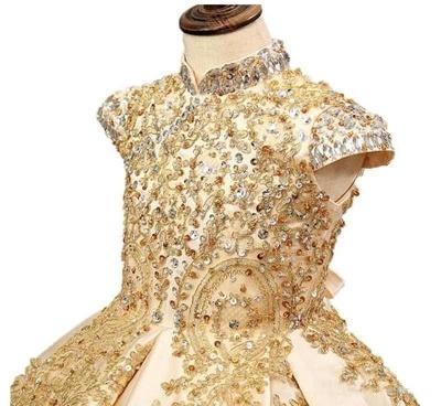 Vestido de fiesta dorado Princesa Vestidos de niña de flores con cuentas Vestidos de desfile de niñas pequeñas_2