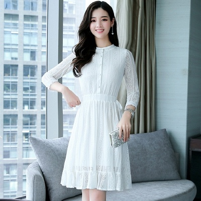 White Lace See-through Look Guipure lace A-line Stand Collar Midi Dresses_3