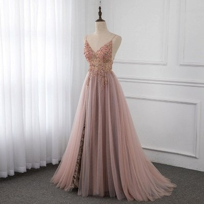 Sweetheart Crystal Prom Dresses Straps Spaghetti Tulle Evening Gown Split Side_1
