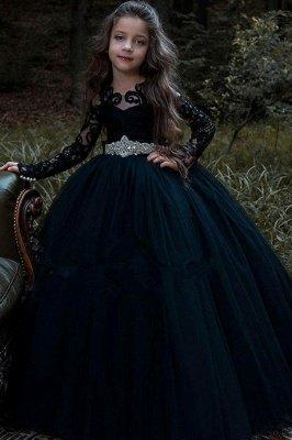 Schönes schwarzes Blumenmädchenkleid mit langen Ärmeln und Kristallgürtel