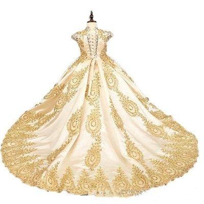 Vestido de fiesta dorado Princesa Vestidos de niña de flores con cuentas Vestidos de desfile de niñas pequeñas_3