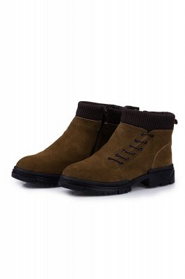 Brown Side Zip Military Work Boot for Men Non Slip Velvet Zipper Wool Boots