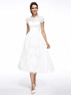 A-Line Wedding Dresses Jewel Neck Tea Length Lace Short Sleeve Simple Casual Illusion  Backless_2