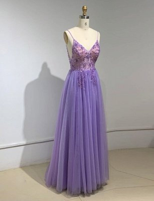 Sweetheart Crystal Prom Dresses Straps Spaghetti Tulle Evening Gown Split Side_5