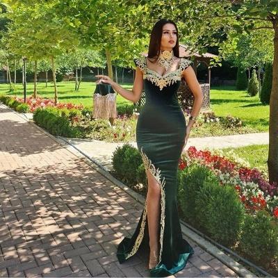 Темно-зеленое бархатное вечернее платье с русалкой и золотыми кружевными аппликациями_2