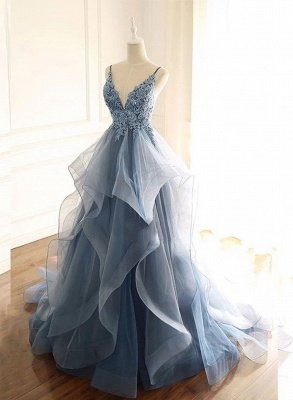 Gray Evening Dresses  Tulle V Neck Ruffles Long Spaghetti Lace Beading Prom Dress