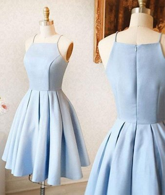 Spaghetti Straps Sky Blue Mini Dress Simple Homecoming Dress