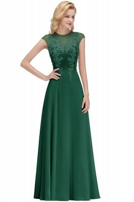 Cap Sleeve Lace Appliques Beads Slim A-line Evening Prom Dress for Women_4
