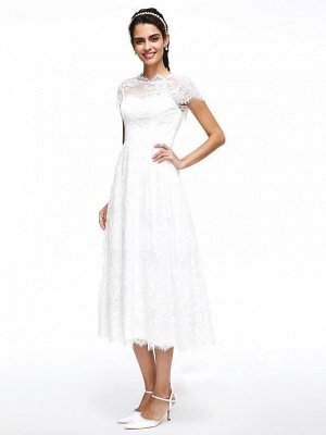 A-Line Wedding Dresses Jewel Neck Tea Length Lace Short Sleeve Simple Casual Illusion  Backless_5