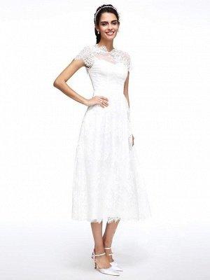 A-Line Wedding Dresses Jewel Neck Tea Length Lace Short Sleeve Simple Casual Illusion  Backless_3