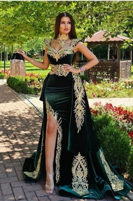 Dark Green Velvet Mermaid Evening Dress with Gold Lace appliques