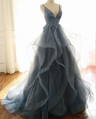 Серые вечерние платья Тюль с V-образным вырезом и длинными рукавами с длинными рукавами и бисером_2