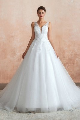 Carly | Sexy Pluging V-neck Ball Gown Wedding Dress with Chapel Train, Affordable Bridal Gowns with see-through Lace Back_1