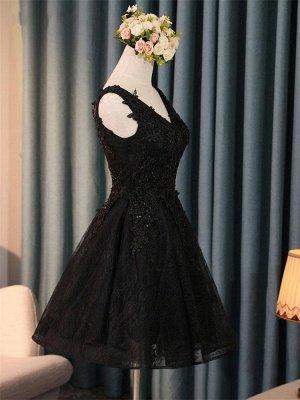 Elegant Black Homecoming Graduacion Dresses  Lace Applique Beaded Tulle Short Prom Dress Homecoming Dress_1