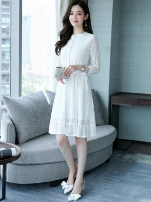 White Lace See-through Look Guipure lace A-line Stand Collar Midi Dresses_2