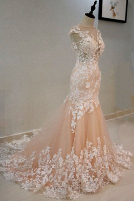 Peach Mermaid  Formal Prom Evening Dress Sleeveless Tulle Lace Appliques_3