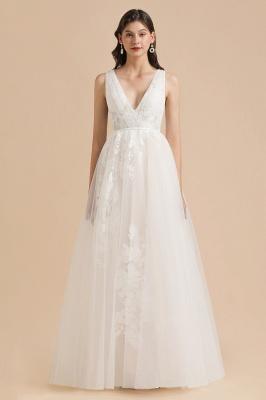 Apliques de encaje de tul con cuello en V marfil Vestido de novia simple Vestidos de novia de jardín Longitud del piso_3