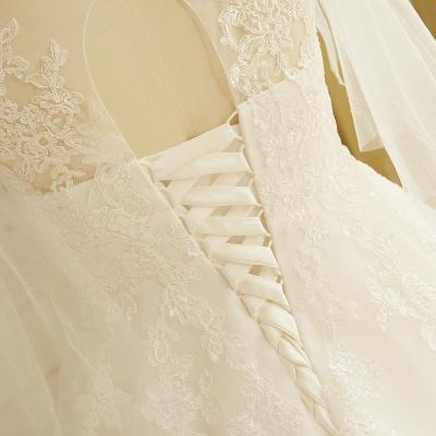 Elegantes Plus Size Lace Brautkleid A-Linie Bodenlang V-Ausschnitt Tüll Appliques Schnür Poet Ärmel_6