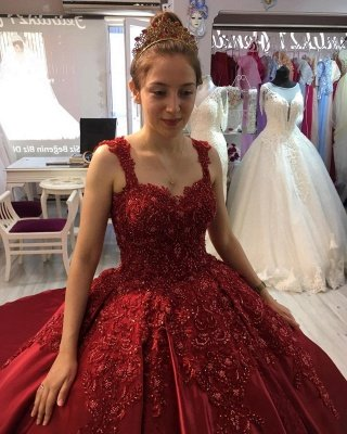 Red A-line Ball Gown with Long Sweep Train Sweetheart Straps_4