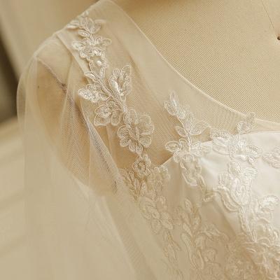 Elegantes Plus Size Lace Brautkleid A-Linie Bodenlang V-Ausschnitt Tüll Appliques Schnür Poet Ärmel_5