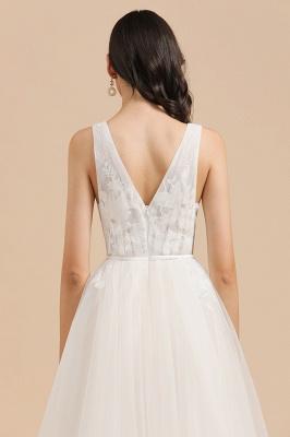 Apliques de encaje de tul con cuello en V marfil Vestido de novia simple Vestidos de novia de jardín Longitud del piso_8