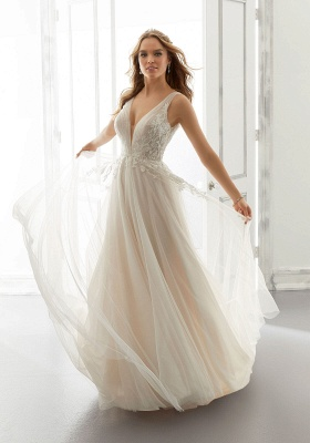 White V-Neck Backless Wedding Dress Tulle Lace Appliques Bridal Gowns_3