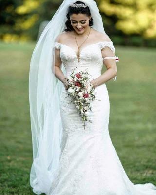 Off Shoulder White Garden Mermaid Bridal Gown_2