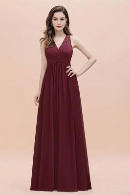 V-образным вырезом трапециевидной формы шифоновое вечернее платье макси без рукавов свадебное платье для гостей невесты_8