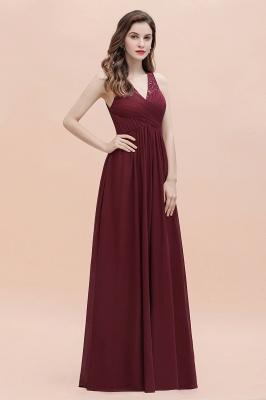 V-образным вырезом трапециевидной формы шифоновое вечернее платье макси без рукавов свадебное платье для гостей невесты_9