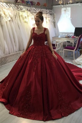 Red A-line Ball Gown with Long Sweep Train Sweetheart Straps_1