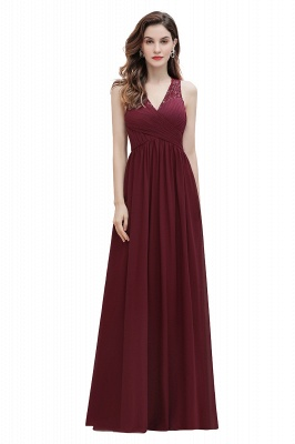 V-образным вырезом трапециевидной формы шифоновое вечернее платье макси без рукавов свадебное платье для гостей невесты_1