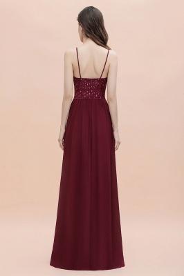 Col en V bretelles A-ligne robe de demoiselle d'honneur robe de soirée paillettes_5