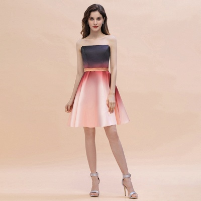 Sleeveless Gradient Satin Evening Prom Mini Dress Elegant Sweetheart Daily Dress_1