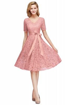 Элегантные платья с короткими рукавами V-образного вырезывания с поясом_1