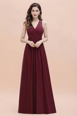 A-Linie Chiffon Abend Maxikleid mit V-Ausschnitt Ärmelloses Brautjungfern-Hochzeitsgastkleid