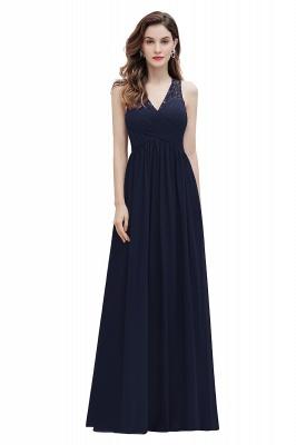 V-образным вырезом трапециевидной формы шифоновое вечернее платье макси без рукавов свадебное платье для гостей невесты_3